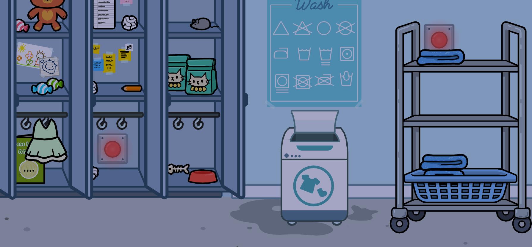 Кнопки в шкафу и справа от стиральной машины